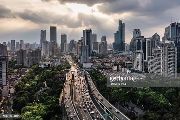 Shanghai skyline and expressway interchange