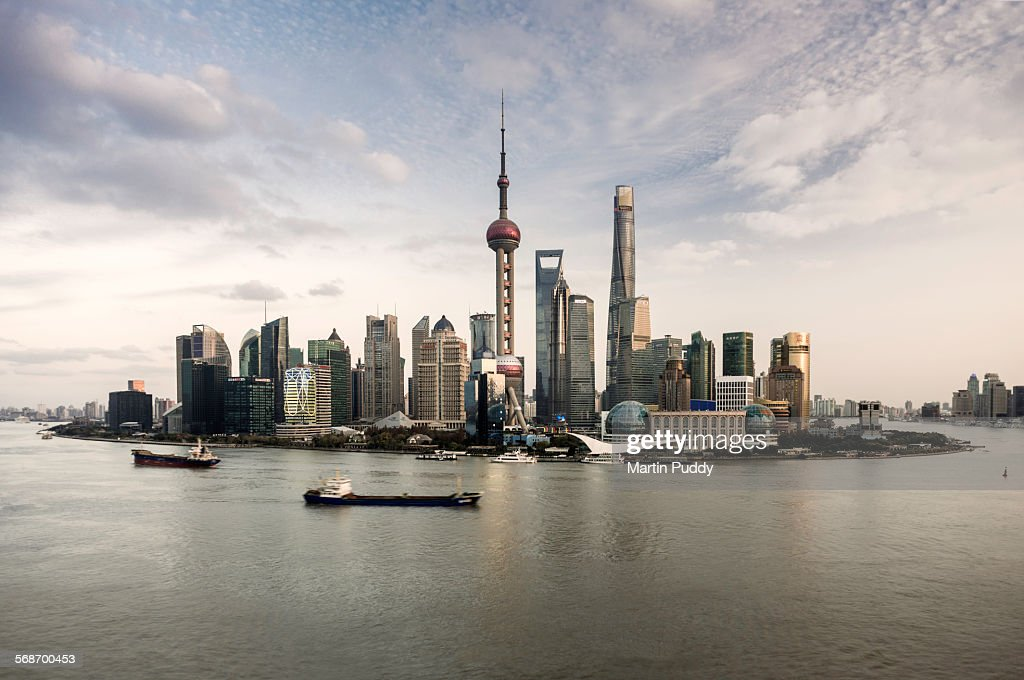 Shanghai skyline and Huangpu river : Stock Photo