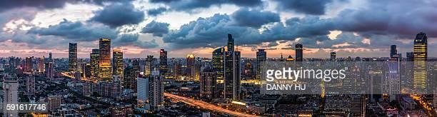 Shanghai skyline and jin an CBD at dusk