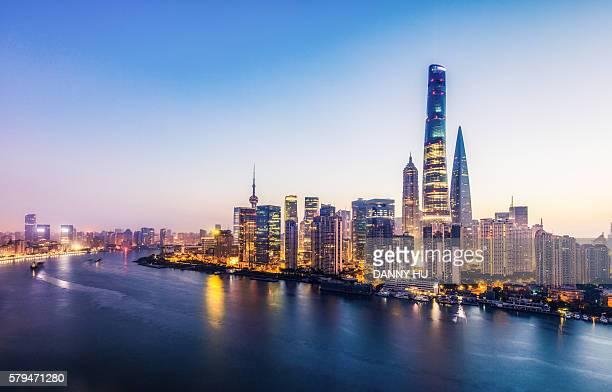 Shanghai skyline and lujiazui cityscape at dawn,Shanghai ,China