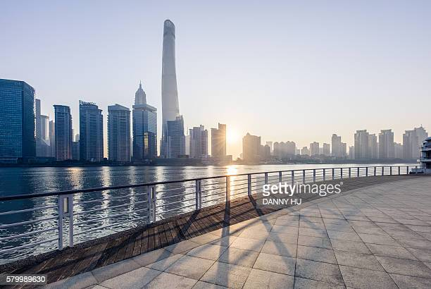 shanghai skyline and lujiazui cityscape at sunrise time