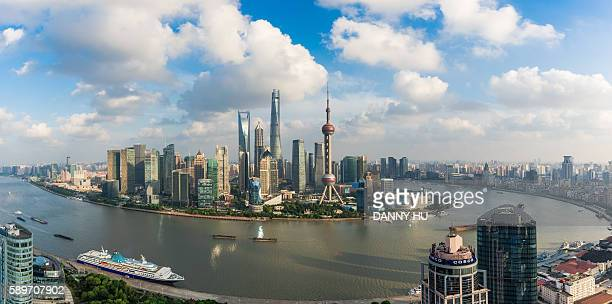shanghai skyline and lujiazui district in the afternoon