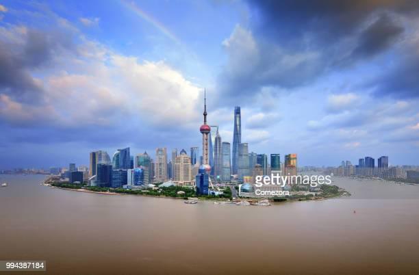 Shanghai Skyline and Rainbow at Sunset, China