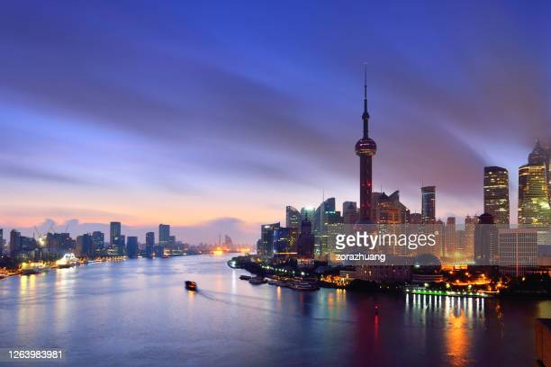 shanghai skyline at dawn, china - international landmark stock pictures, royalty-free photos & images