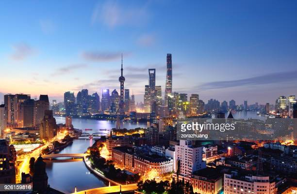 shanghai skyline at dawn, china - shanghai tower shanghai stock pictures, royalty-free photos & images