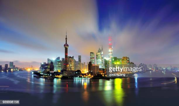 shanghai skyline at dawn, china - passenger craft stock pictures, royalty-free photos & images
