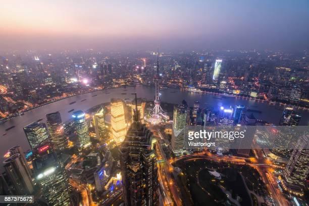 Shanghai Skyline at dusk,Lujiazui,Shanghai,China.
