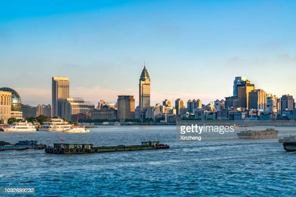 shanghai skyline at night - huangpu river stock photos and pictures