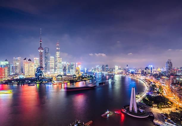 Shanghai Skyline At Night Wall Art