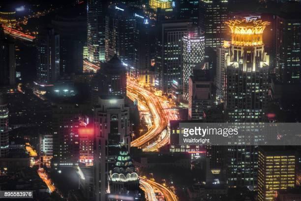 Shanghai Skyline at night,Lujiazui,Shanghai,China.