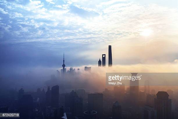 Shanghai skyline at sunrise