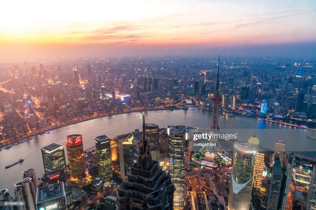 Shanghai Skyline at sunset : ストックフォト