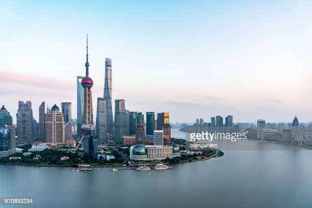 shanghai skyline at sunset - the bund stock photos and pictures