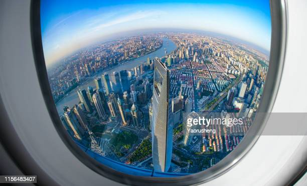 shanghai skyline city landscape, view from a business airplane - shanghai stock pictures, royalty-free photos & images