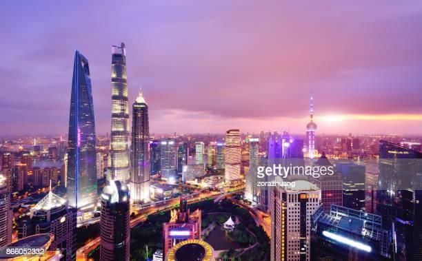 Shanghai Skyline Cityscape at Sunset, China