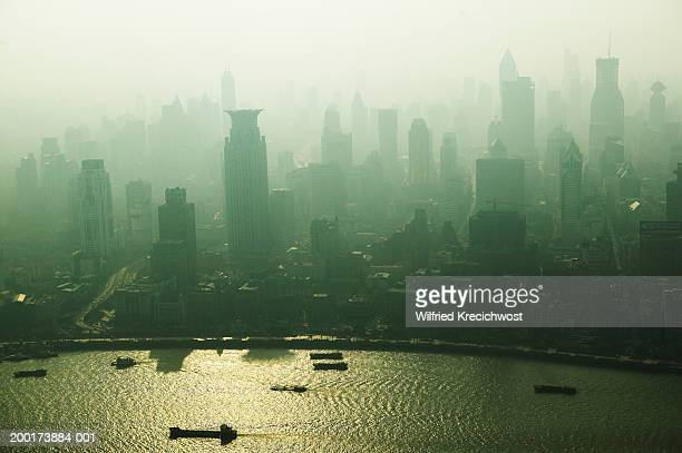 shanghai skyline, dusk, elevated view - travel14 stock pictures, royalty-free photos & images