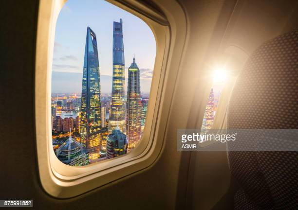 Shanghai skyline from the airplane