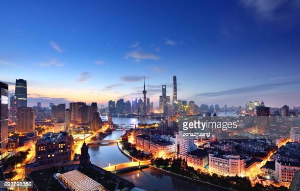 Shanghai Skyline in Blue Sky at Dawn