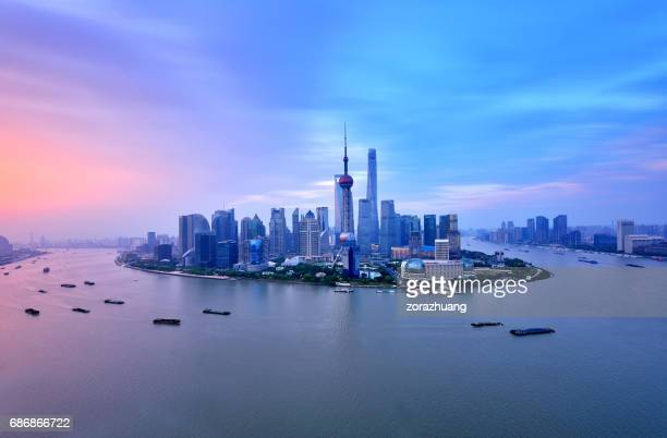 Shanghai Skyline in Dramatic Sky at Sunrise