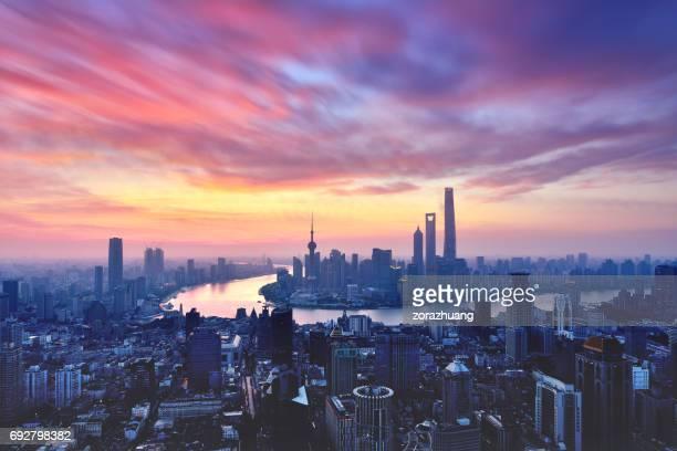 Shanghai Skyline in Dramatic Sky at Sunrise