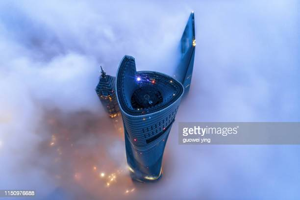 shanghai skyline in heavy fog - lujiazui stock pictures, royalty-free photos & images