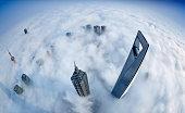 Shanghai Skyline in Sea of Clouds