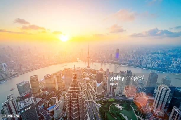 Shanghai skyline in sunset, China