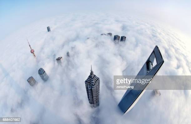 Shanghai Skyline in the Thick Fog, China