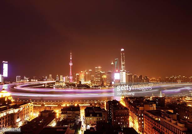 Shanghai skyline panoramic at night