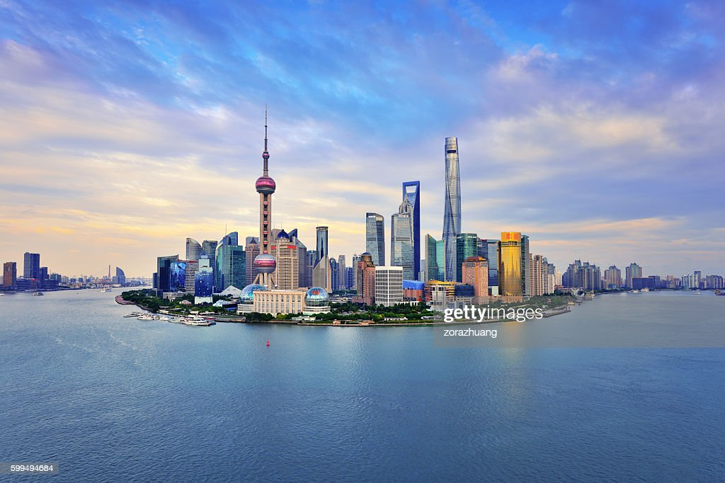 Shanghai Skyline Panoramic at Sunset : Foto de stock