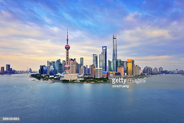 Shanghai Skyline Panoramic at Sunset
