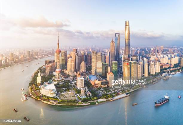 shanghai skyline - lujiazui stock pictures, royalty-free photos & images
