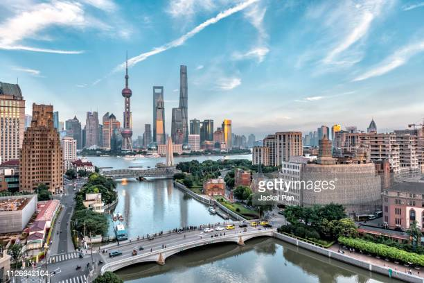 shanghai skyline - day stock pictures, royalty-free photos & images