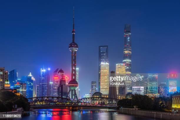 shanghai skyline - rio huangpu - fotografias e filmes do acervo