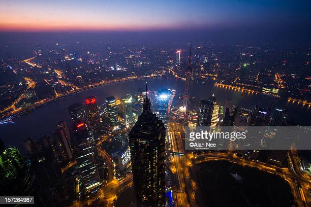 shanghai skyline - nee nee stock photos and pictures