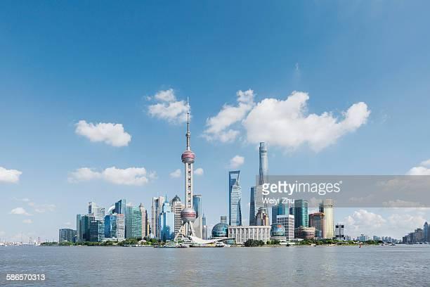 shanghai skyline - pudong - fotografias e filmes do acervo