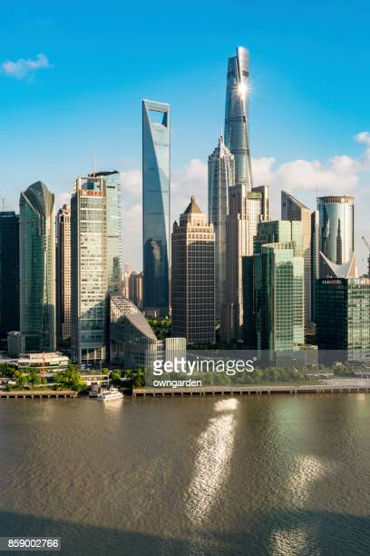 shanghai skyline - lujiazui stock photos and pictures