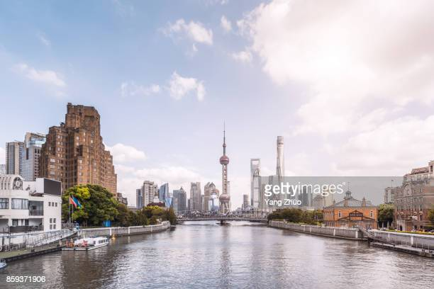 shanghai skyline - huangpu river stock photos and pictures