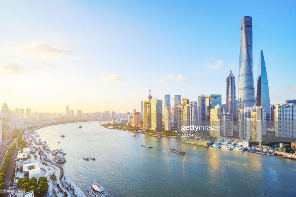 Horizonte de Xangai : Foto de stock