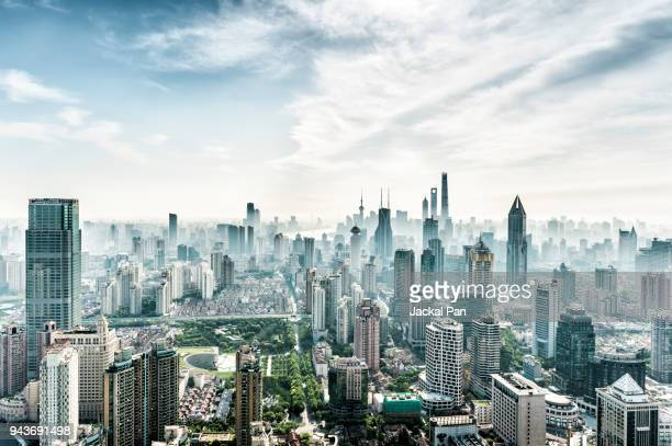 shanghai skyline - tall high stock photos and pictures