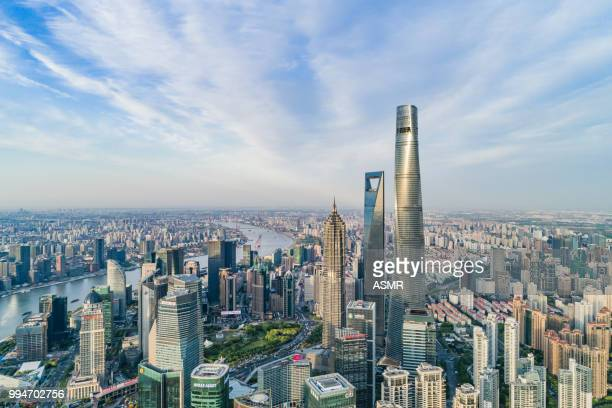 shanghai skyline - pudong stock pictures, royalty-free photos & images