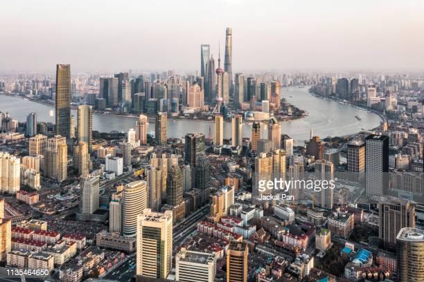 shanghai skyline seen from hongkou district - 上海 ストックフォトと画像