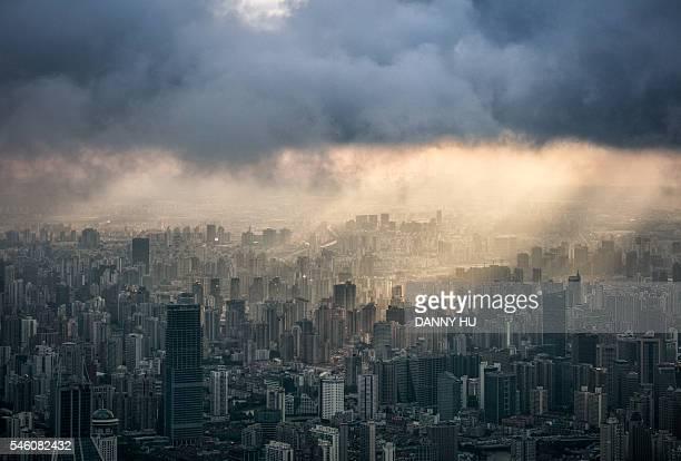 Shanghai skyline seen from pudong at dusk,Shanghai,China