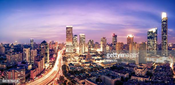 shanghai skyline sunset - lujiazui stock photos and pictures