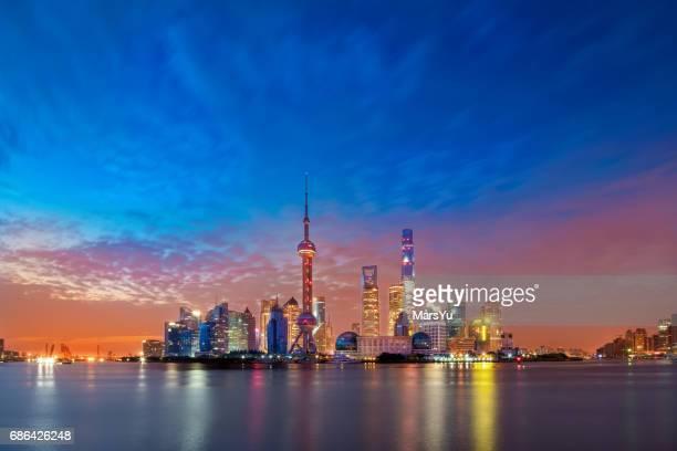 上海スカイライン夕日
