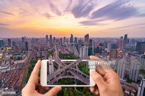 shanghai skyline sunset - digitally generated image stock pictures, royalty-free photos & images