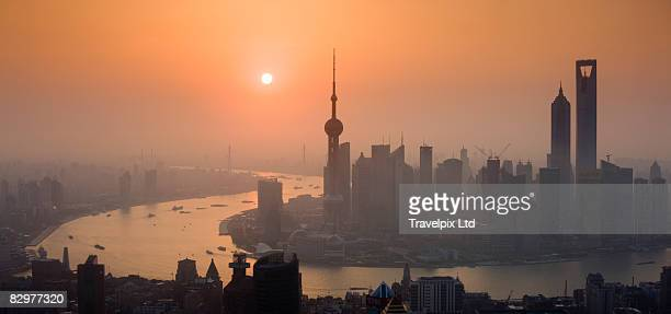 Shanghai skyline, the Pudong, at dusk