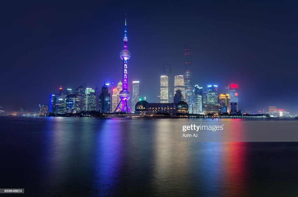 Shanghai Skyline Tron Like Cityscape : Stock Photo
