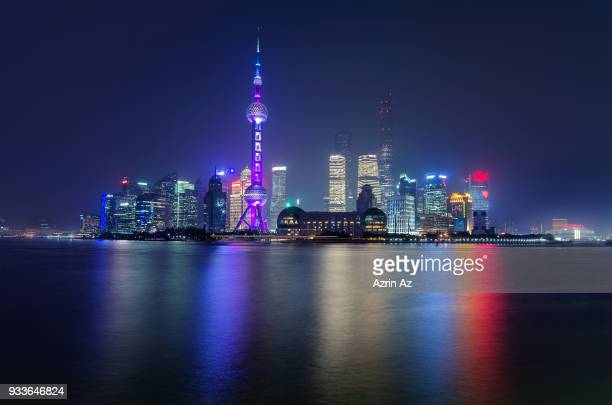 shanghai skyline tron like cityscape - azrin az stock pictures, royalty-free photos & images