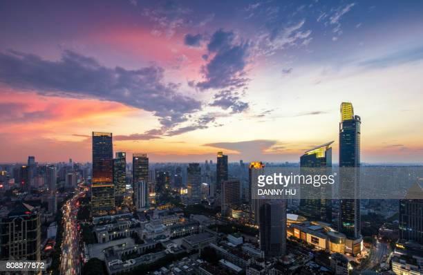 shanghai skyline with dramatic sky at dusk
